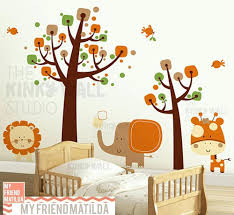 wall decal baby children wall decal wall sticker tree decal safari animals children  wall decal wall . wall decal baby nursery ...
