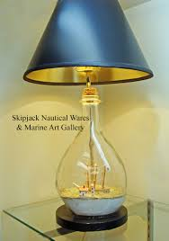 Chart Lights For Boats Vintage Ship In A Bottle Nautical Table Lamp