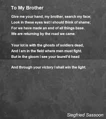 to my brother poem by siegfried sassoon poem hunter