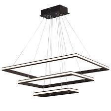 <b>Brown Modern</b> 3 square rings <b>LED</b> Pendant Lights For Living Room ...