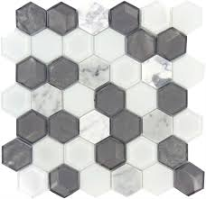aspen grove hexagon silver glossy glass stone tile