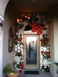 F Front Door Ornaments Gleaming Garland Decor With Snowflakes  Outside