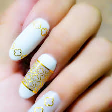 Hot 2017 1 Sheet 3D Metallic Gold Flower Lace Line Picture Nail ...