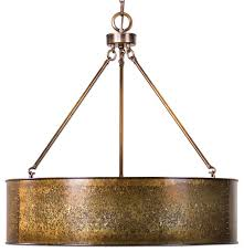 antiqued galvanized gold metal large drum pendant 5 light distressed industrial