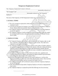 Temporary Employment Contract Template Sample Temporary Employment Contract Form Template In 2019