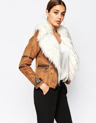 river island suedette biker jacket with faux fur collar from asos