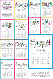 2015 monthly calendar 2015 printable mini calendar capturing joy with kristen duke