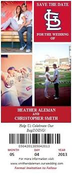 save the date ticket magnets with white envelopes by stdonexus Wedding Announcements St Louis save the dates! st louis wedding stl cardinals for baseball lovers st louis post dispatch wedding announcements