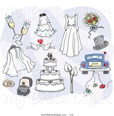 Bridal Clipart of a Digital Collage of Wedding Day Items and Accessories