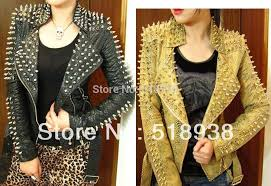 jacket leather black zipper women glod punk strong spike rivet studded shoulder snake pattern pu coat autumn streetwear