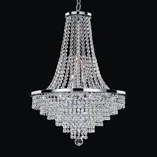 glow lighting vista 19 in 9 light silver pearl crystal clear glass empire chandelier