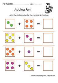 Adding Fun Worksheets, Kindergarten addition, Addition for kidsKindergarten Dot Addition