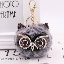 <b>New Mini Plush Real</b> owl Fur Ball keychain Soft Toys Cute Fashion ...