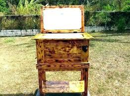 outdoor ice chest cart cooler job cover wood retro patio outdoor wicker cooler