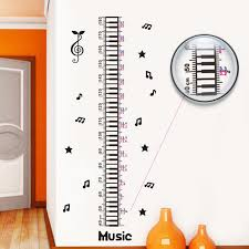 Us 5 31 30 Off Romantic Music Notes Height Sticker Kids Children Wall Stickers Cartoon Child Height Chart Wall Decals Home Decor In Wall Stickers