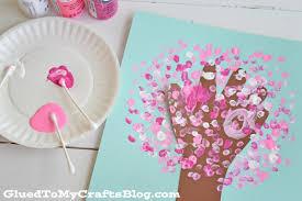 Q-Tip Painted Handprint Cherry Blossom Tree - Kid Craft - Glued To My Crafts