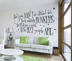image is loading alice in wonderland mad hatter quote large wall  on alice in wonderland wall art quotes with alice in wonderland mad hatter quote large wall sticker decal mural