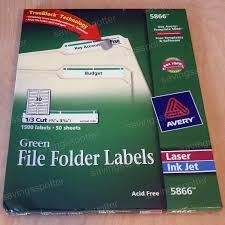 Avery 5866 Laser Labels File Folder 15c Green Pk50