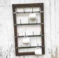 coffee mug holder wall mug rack cup drying metal wood mu on appliances diy coffee mug