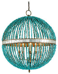 lorenz contemporary turquoise beaded 5 light orb pendant light eclectic pendant lighting