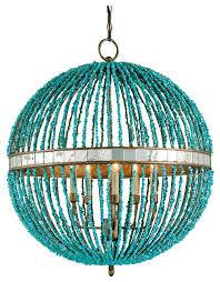 lorenz contemporary turquoise beaded 5 light orb pendant