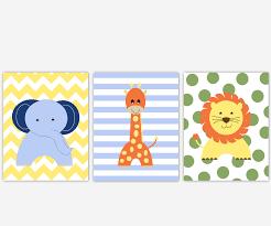 canvas prints for baby room. Baby Boys Canvas Nursery Wall Art Blue Green Yellow Elephant Giraffe Lion Jungle Safari Zoo Animals Playroom Prints For Room A