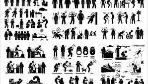 黑色小人生活人物矢量素材黑色小人模板下载图片人物日常行为人物