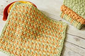 Easy Crochet Dishcloth Patterns Impressive Chic Textured Crochet Dishcloth Pattern Three Color Simple Stitch