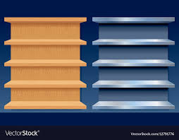 empty metal and wood shelves royalty