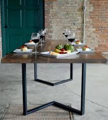 dining table legs galvanized pipe steel industrial set modern reclaimed  wood design ideas metal nz