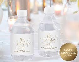 wedding bottle label faux gold wedding water bottle label water bottle labels