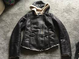 zara trafaluc las hooded jacket faux leather fur inside size s used v good condition 7