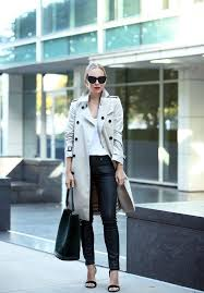 a pale coloured trench coat will also make an excellent contrast to a pair of leather