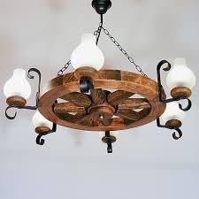 wheel chandelier six wrought iron arms white matt glass lamp shades antique wood frame round shape