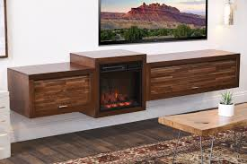 floating stand with fireplace eco geo mocha woodwaves minimal mid century modern hanging electric wall mounted