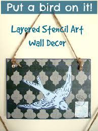 layered stencil art wall decor