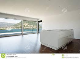 Empty Kitchen Wall Beautiful Empty Apartment White Kitchen Stock Photo Image 42187863