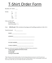 Tshirt Order Form Template With Printable T Shirt Order Form ...
