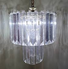vintage brass lucite acrylic chandelier hanging ceiling light two tier prism