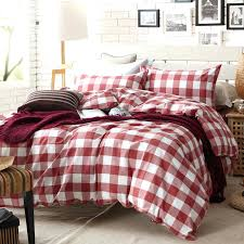 plaid twin bedding red and white duvet cover set for single or double bed cotton in