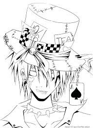 Anime Coloring Pages Printable Cool Creepy Magician Chibi Boy Pri