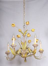 vintage hand painted green yellow tulip chandelier