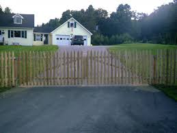 Picket Fence Double Gate Concord VT Double Swinging Driveway Gate