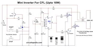 Inverter Circuit Design Using Mosfet 12v Cfl Inverter Circuit Simple Cfl Inverter Circuit Diagram