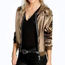 whole fashion y black golden zipper satin er jacket women basic coats las winter coat top long sleeve wrap surcoat outwear cropped jacket