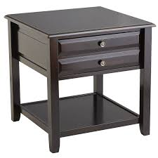 anywhere large rubbed black end table with knobs  pier  imports