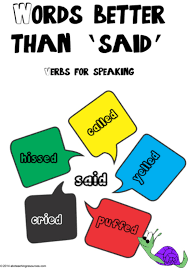 Verbs For Speaking Words Better Than Said Chart 1
