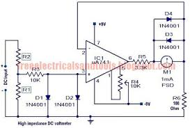 dc voltmeter wiring diagram high impedance dc voltmeter circuit using op amp best for the principle work of this circuit