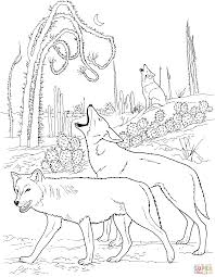 Small Picture Coyotes Howling in Desert coloring page Free Printable Coloring