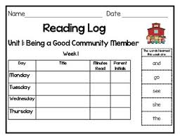 First Grade Reading Log Benchmark Advance Inspired Weekly Reading Logs First Grade Units 1 10
